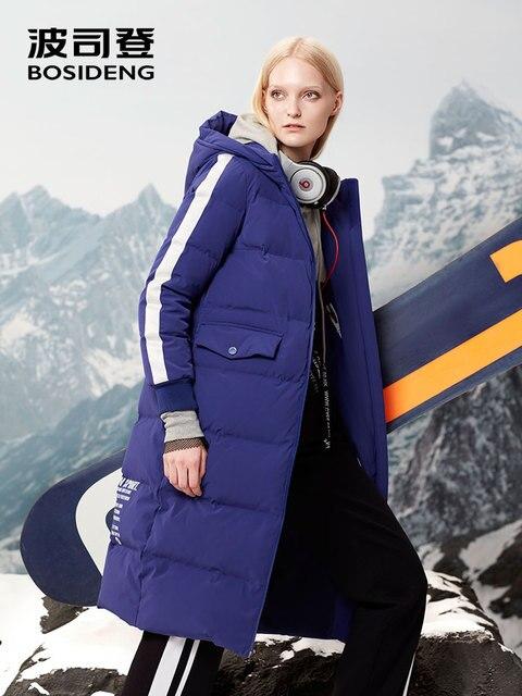 BOSIDENG/зимняя куртка на утином пуху, X-Long, пуховик, зимняя утепленная парка, Спортивная, с капюшоном, водостойкая, с отверстиями для наушников, с надписью B70142008V