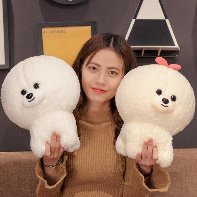 1pc Bichon Frise Plush Toy Cute Puppy Stuffed Dog Simulation Pet Kawaii Fluffy Baby Doll Birthday Gift For Children Photo Prop
