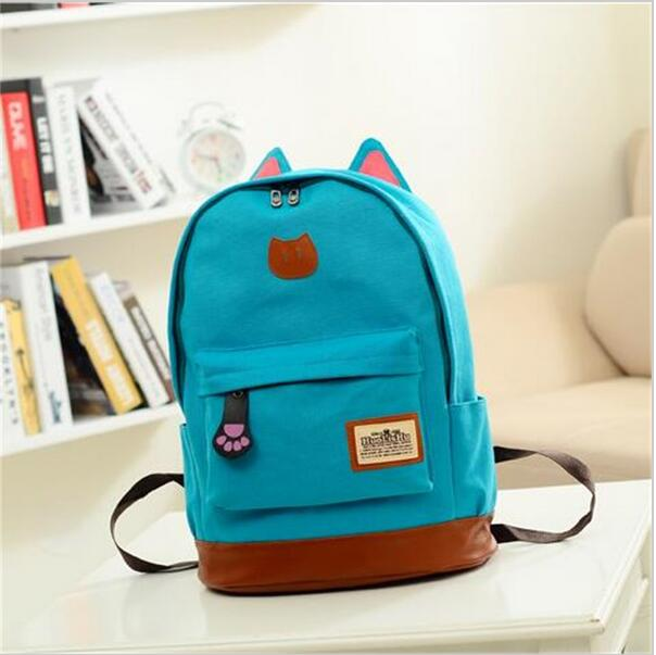 2016 Vintage Women Canvas Backpack for Teenage Girls School Bags Cartoon Cat Backpack Female Travel Bag mochila rucksack daypack  simple style backpack women canvas cartoon printing shoulder bag for teenage girls fashion lady rucksack designer school mochila