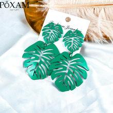 Женские массивные серьги-капли с большим листом, винтажные геометрические зеленые полые металлические серьги с кокосовыми листьями, ювели...