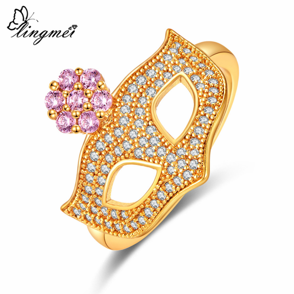 Womens Black Masquerade Ring Gold Crystal Stainless Steel Mask Size 5 6 7 8 9 10