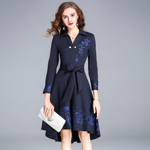 2019 Fashionable and gorgeous brand spring and summer women's clothes slim slimming belt embroidered high-end dress women цены
