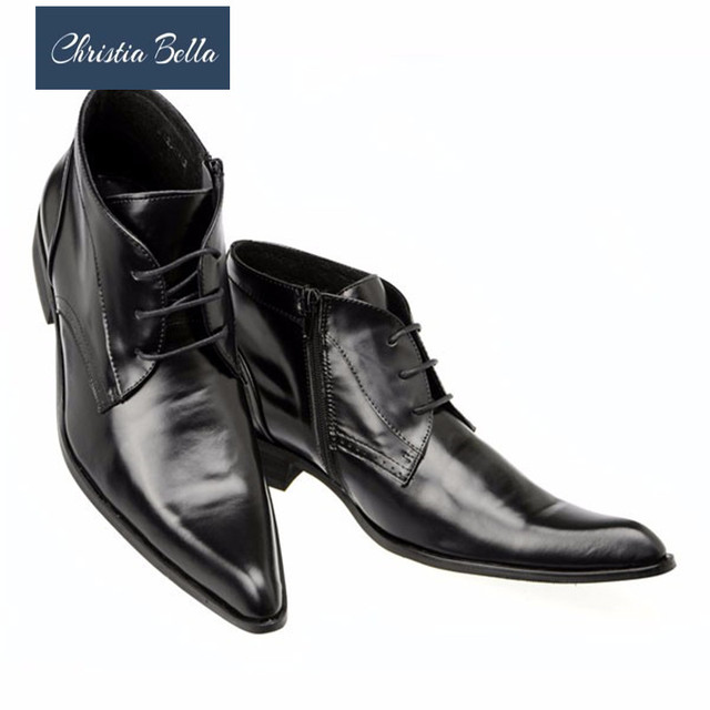 Christia Bella Winter Autumn Genuine Leather Men Ankle Boots British Pointed Toe Men Dress Boots Lace Up Formal Business Shoes