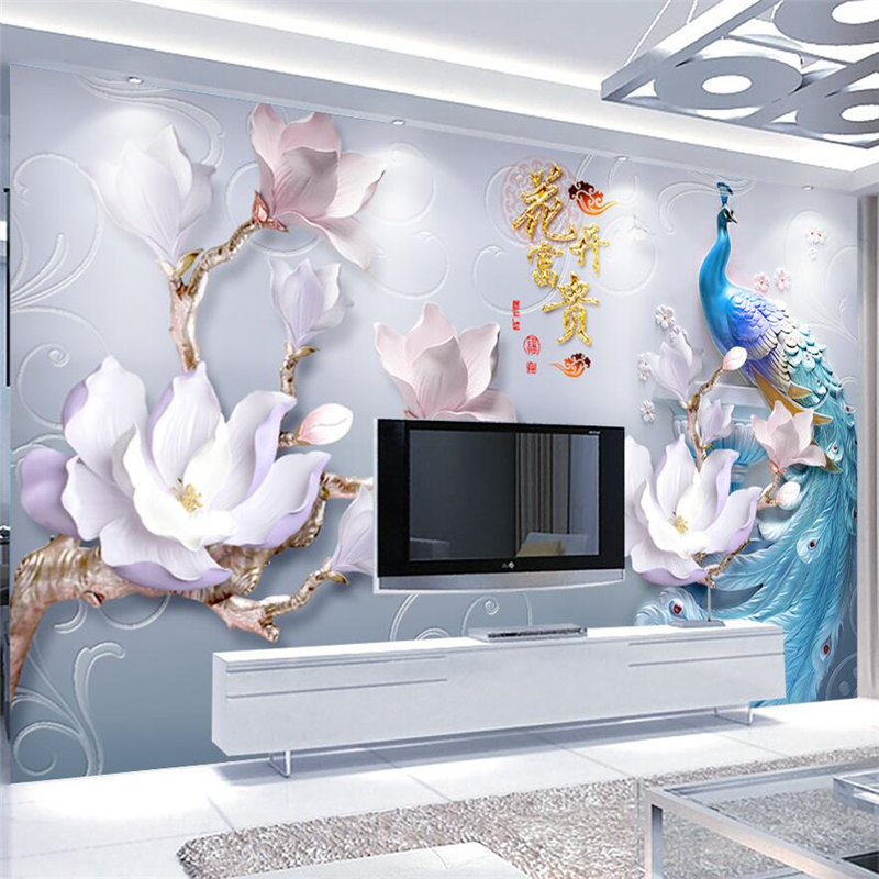 Beibehang Custom Mural 3d Photo Wallpaper Embossed Flowers Rich Modern  Minimalist Peacock Background Decorative 3d Wallpaper