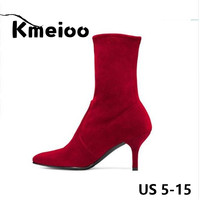 Kmeioo Brand US Size 5 15 Ankle Boots For Women 2018 Winter Faux Suede 6.5CM Stiletto High Heel Shoes Black Red Pointed Toe