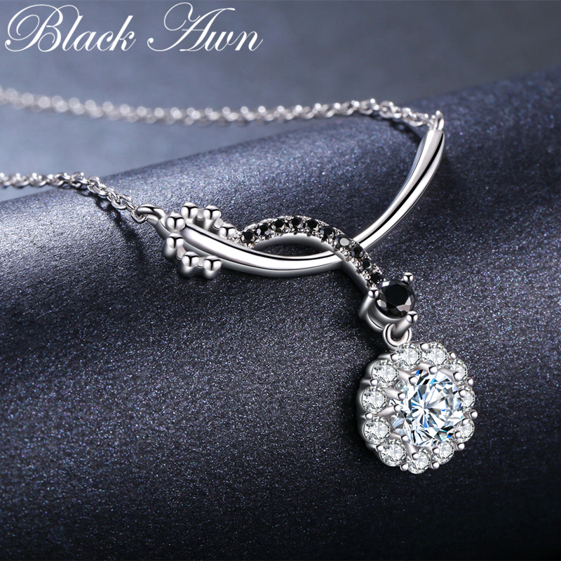 BLACK AWN 2019 Romantic Arrive 925 Sterling Silver Fine Jewelry Trendy Round Engagement Necklaces & Pendants For Women KK027