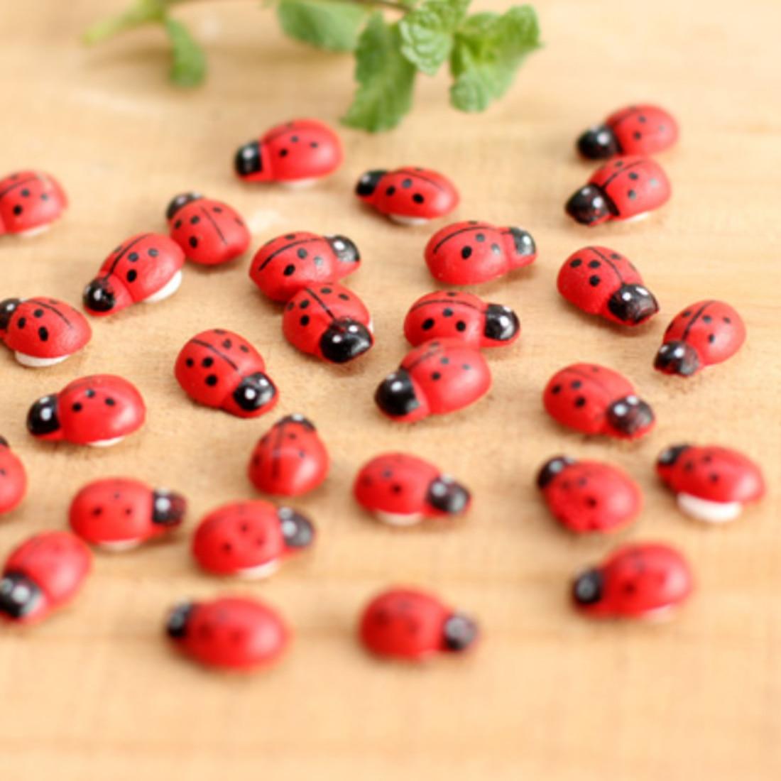 Ladybug ornaments - 10pcs Adorable Wooden Ladybird Ladybug Sponge Sticker Adhesive Craft Home Garden Ornaments Party Decorations Red