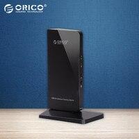 ORICO U3HV-S1 4 포트 USB3.0 범용 도킹 스테이션 외부 확장 비디오 카드 LAN DVI 마이크 헤드셋 포트