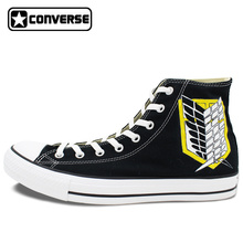 Men Women Original Converse Chuck Taylor Design Anime Hand Painted Shoes Attack on Titan Survey Corps High Top Canvas Sneakers
