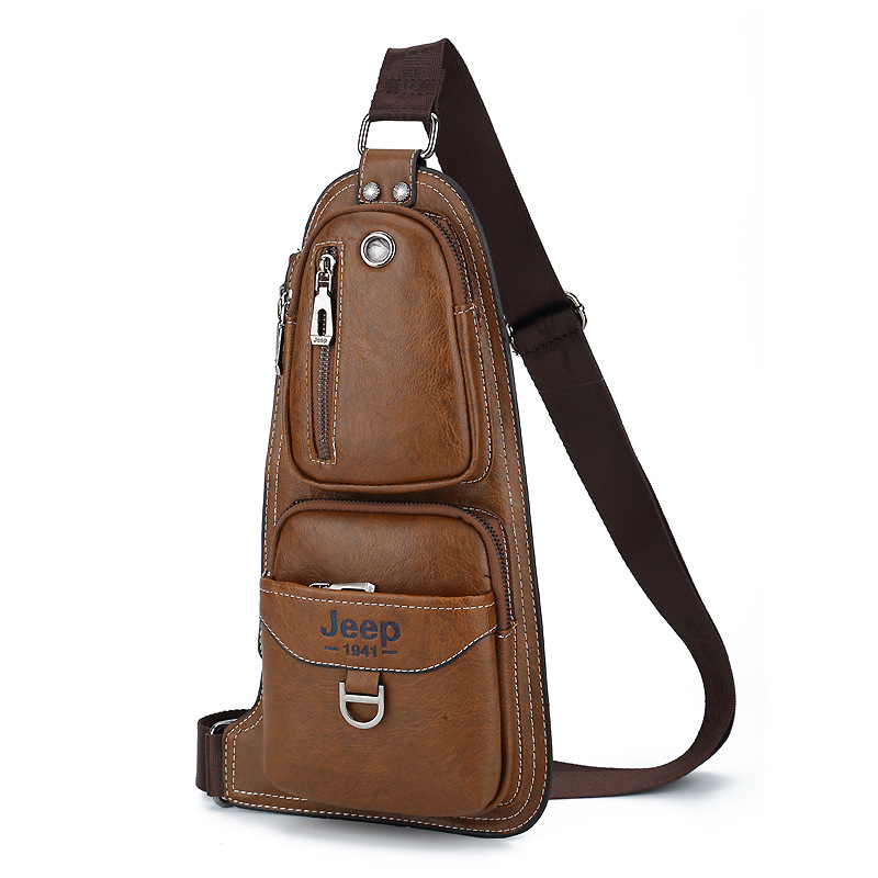 SULPPAIJEEP Fashion Mens Chest Bag PU Leather With Headset Hole Casual Messenger Shoulder Crossbody Bag For Male KSL608MSULPPAIJEEP Fashion Mens Chest Bag PU Leather With Headset Hole Casual Messenger Shoulder Crossbody Bag For Male KSL608M
