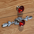 170mm modern fashion deluxe rhinestone Win cabinet dresser door handles red purple blue clear crystal drawer knobs pulls silver