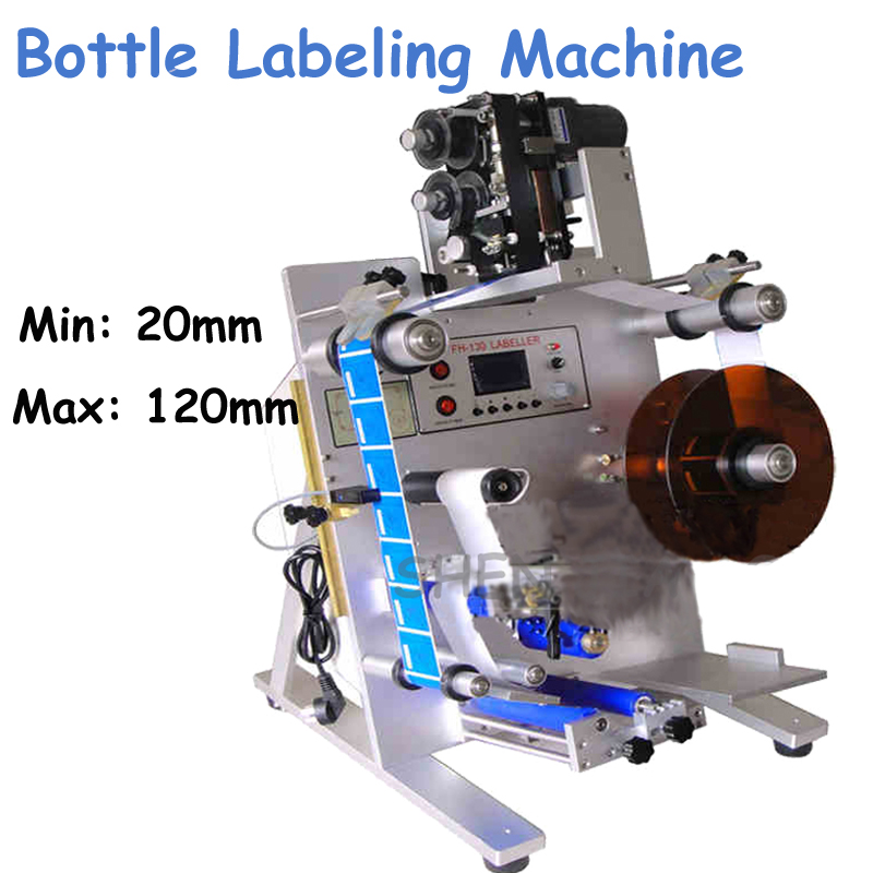 220V Semi-Automatic Labeling Machine Double-Label Stickers Round Bottle Labeling Machine with a Printer Marking Machine FH-130