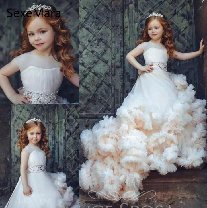 Cloud New Kids Pageant Evening Gowns 2019 Beaded Ball Gown   Flower     Girl     Dresses   For Weddings First Birthday   Dresses   Custom Size