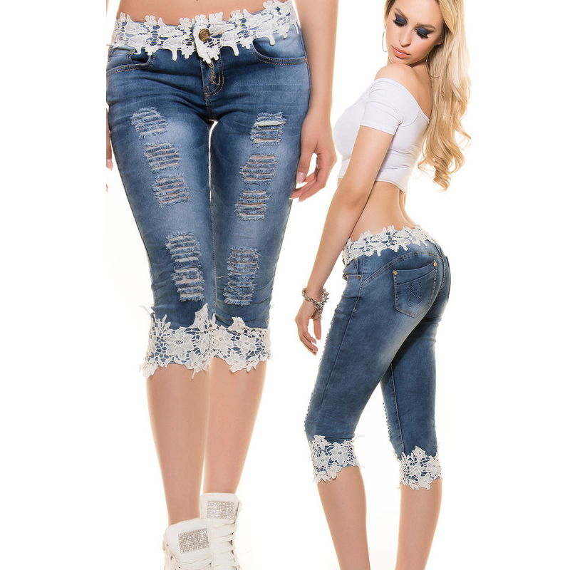 Woman Shorts Summer Knee Length   Jeans   Push Up Capris   Jeans   For Women Ripped Short   Jeans   Lace Pants Skinny Knee Shorts Denim Pant