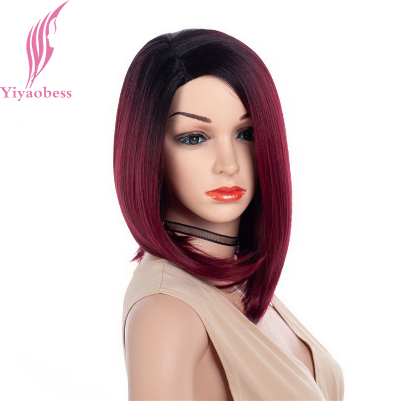 Yiyaobess 14inch Black Auburn Brown Ombre Bob Wig Short Synthetic Natural Hair African American Wigs For Women High Temperature