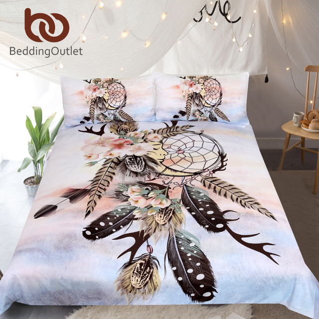BeddingOutlet Dreamcatcher Bedding Set Antlers Feathers Printed Duvet Cover Set Floral Home Textiles Sleeping Moon Bedclothes