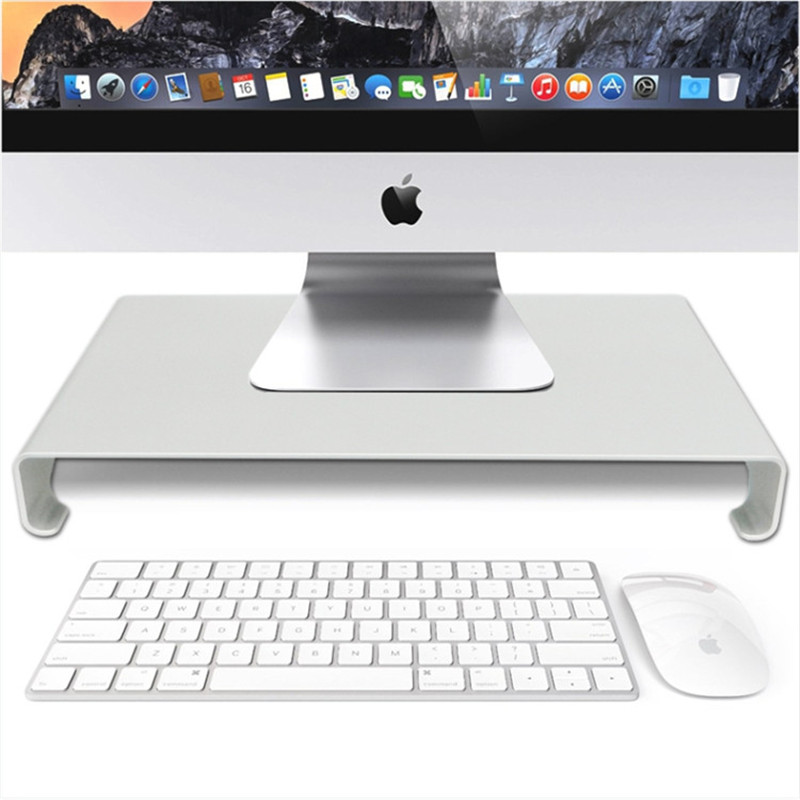 Hmsunrise Universal Desktop Monitor Stand Riser Holder Aluminum Alloy Monitor Stand for apple iMac with Keyboard Mouse Storage ...