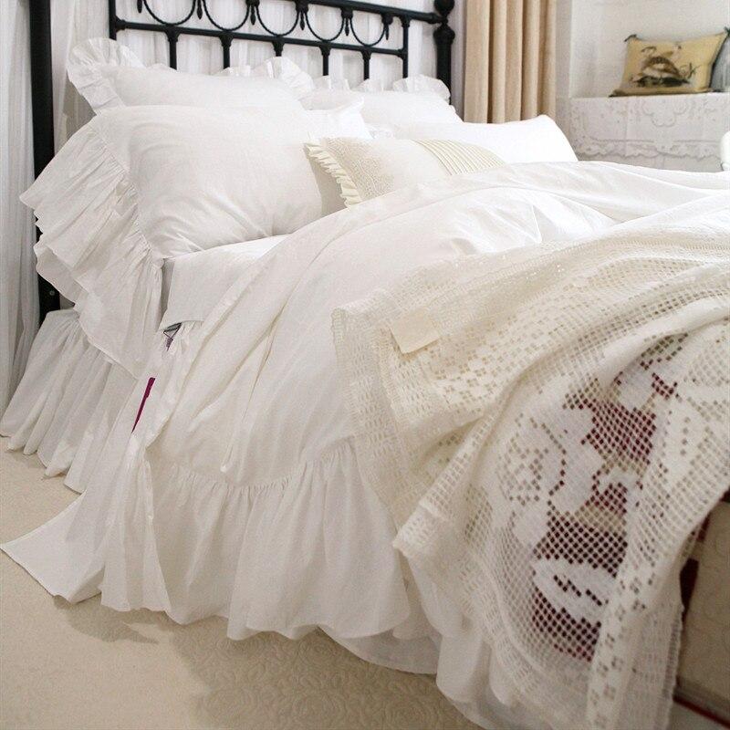 Romantic big ruffle lace bedding set beautiful design bedding bed set satin cotton king bedding set