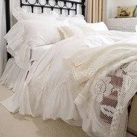 Romantic big ruffle lace bedding set beautiful design bedding bed set satin cotton king bedding set quality duvet cover set