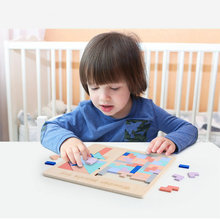 Wooden three-in-one Intelligence Puzzle Childrens Slide Puzzle/Tetris/ jigsaw puzzle Baby Classic Educational toy Free shipping