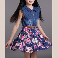 New 2016 Girls Dress Sleeveless Denim Chiffon Patchwork Summer Dresses Lace Flowers XL27