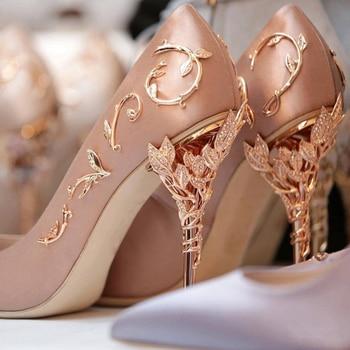 Boussac Elegant Silk Women Pumps High Heels Rhinestone Flower Wedding Shoes Brand Design Pointed Toe High Heels Shoes SWB0074