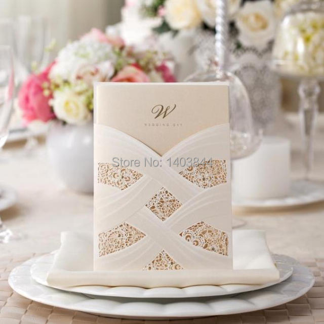 WISHMADE Card Pocket Laser Cut Wedding Invitation Card Free Print CW060