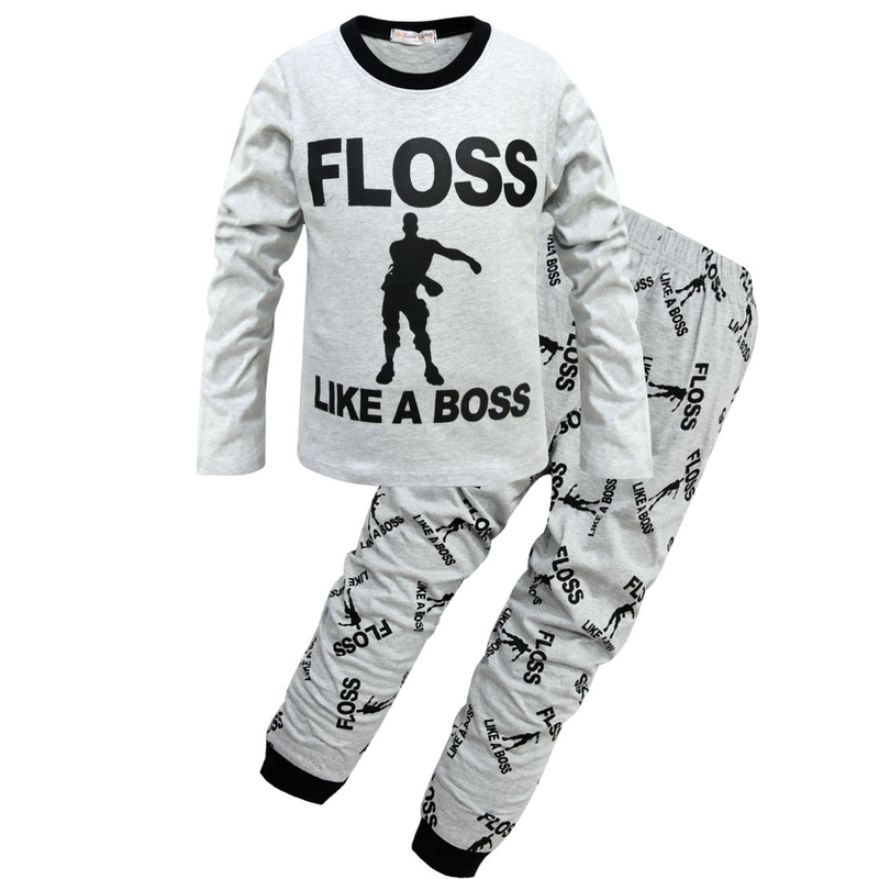 66602303e8d8 Boys Kids Fortnight Battle Royale Kids Tshirt Floss Like A Boss Clothes  Pajamas Tracksuit Long Sleeve