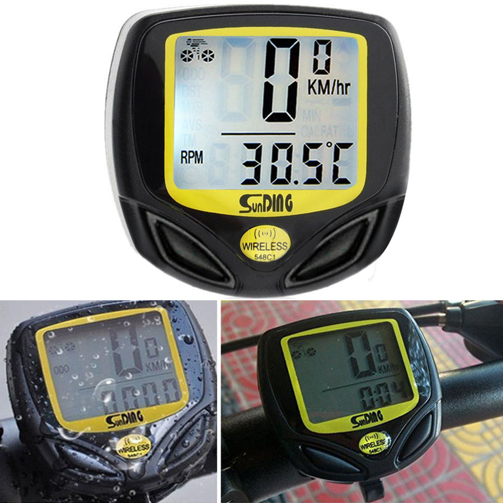A set Waterproof Bicycle Speedometer Wireless Cycle road mountain Bike Meter Computer Odometer with Large LCD Display Durable