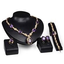 Элегантный овальный циркониевый кулон ожерелье кольцо серьги браслет комплект ювелирных изделий вечерние свадебные ювелирные наборы для женщин