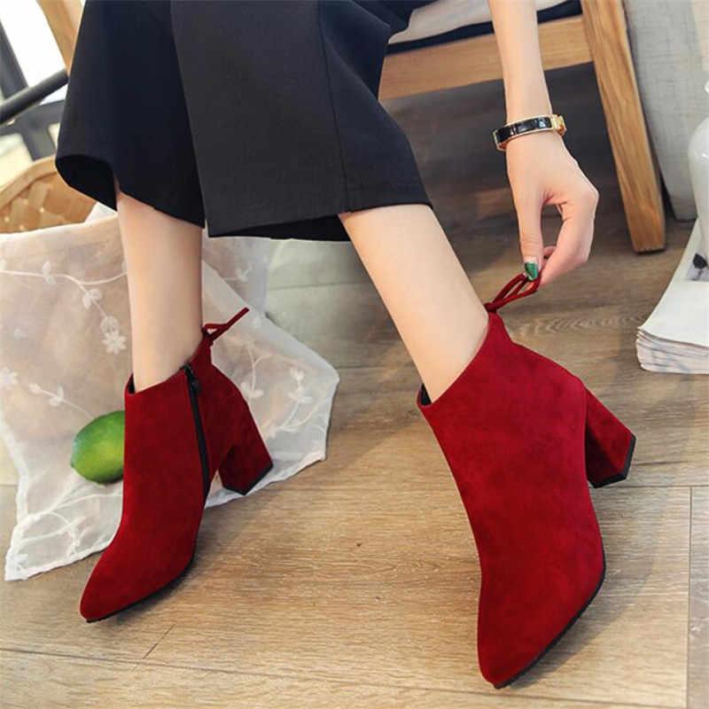 COOTELILI yarım çizmeler Kadın Topuklu rahat ayakkabılar Kadın Süet Deri siyah çizmeler Kadın Botas Mujer Sivri Burun Lace up
