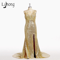 Sequined Gold Mermaid Prom Dresses Long Black Girl Prom Dresses Open Back Sparkly Evening Party Dress
