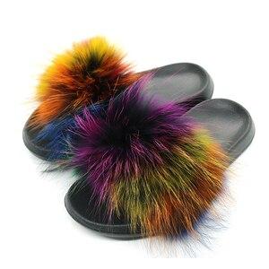 Image 2 - Pantoufles en fourrure de renard pour femmes, tongs, fourrure plate, tongs, chaussures de luxe de marque, 2019