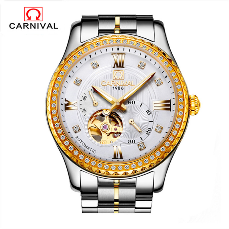 цены Carnival Automatic Watch Men Japan MIYOTA Movement Gold Diamond Mens Mechanical Watches Top Brand Luxury 21 Jewels Clock relojes