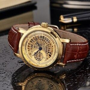 Image 3 - Luksusowa marka szkielet złoty automatyczny mechaniczny mężczyzna zegarek brązowy skórzany pasek luksusowa moda zegarek montre homme