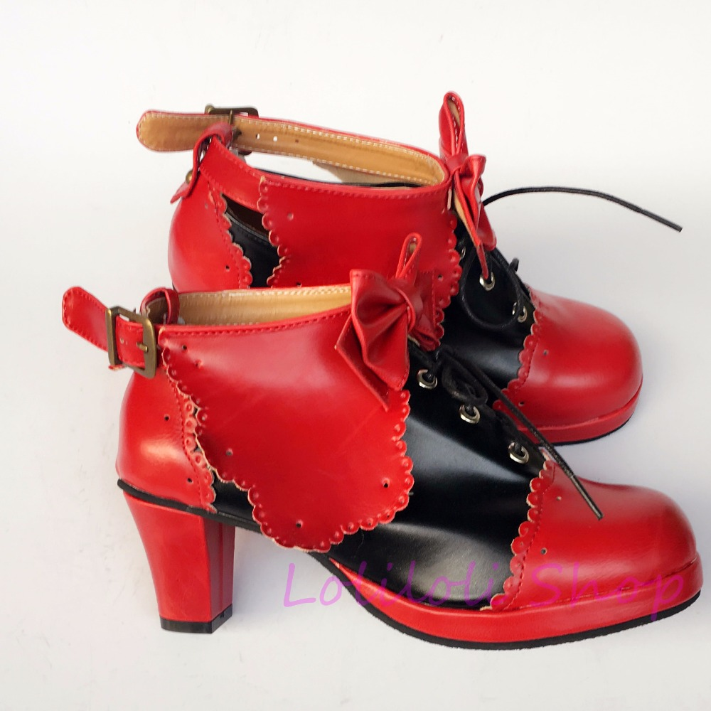 Princess sweet lolita shoes loliloli yoyo Japanese design custom big size red with black bright skin lace-up high boots 1249