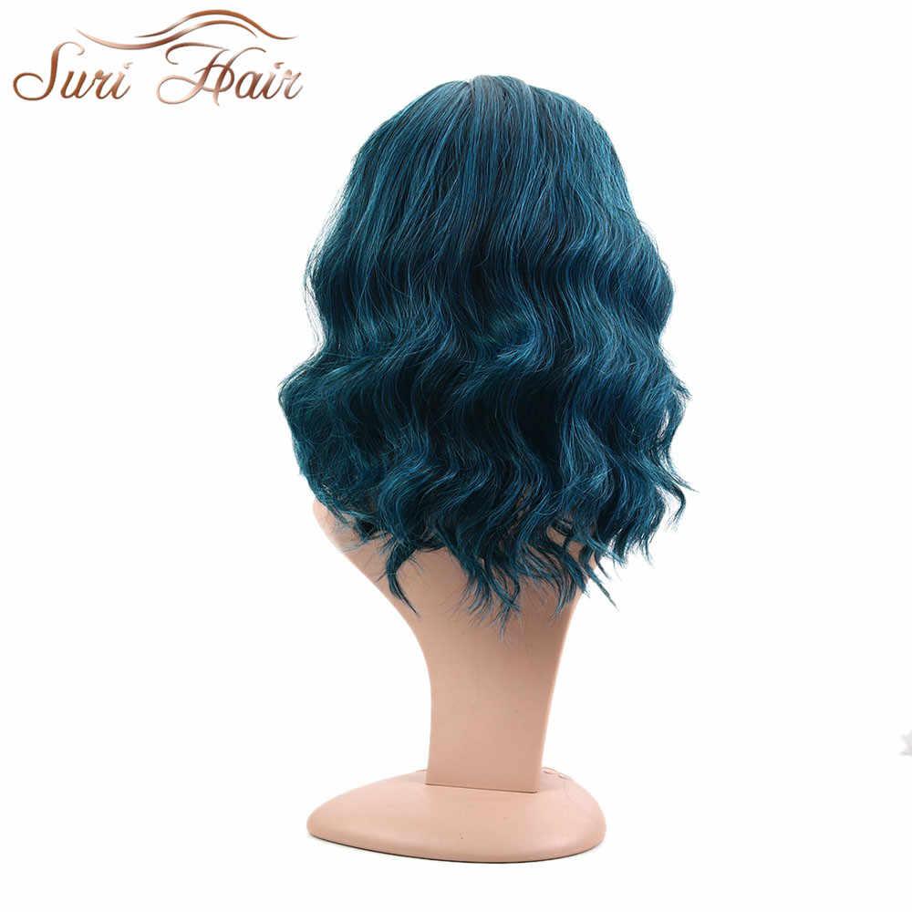 Suri волосы волна воды женские боковые части Косплей парики высокотемпературные синтетические волосы смешанные Черные синие Cos шиньоны Боб