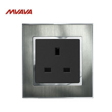 MVAVA 13A Wall Socket UK Standard Receptacle Decorative Wall Plug Silver Satin Metal Panel AC 110V-250V Outlet Free Shipping
