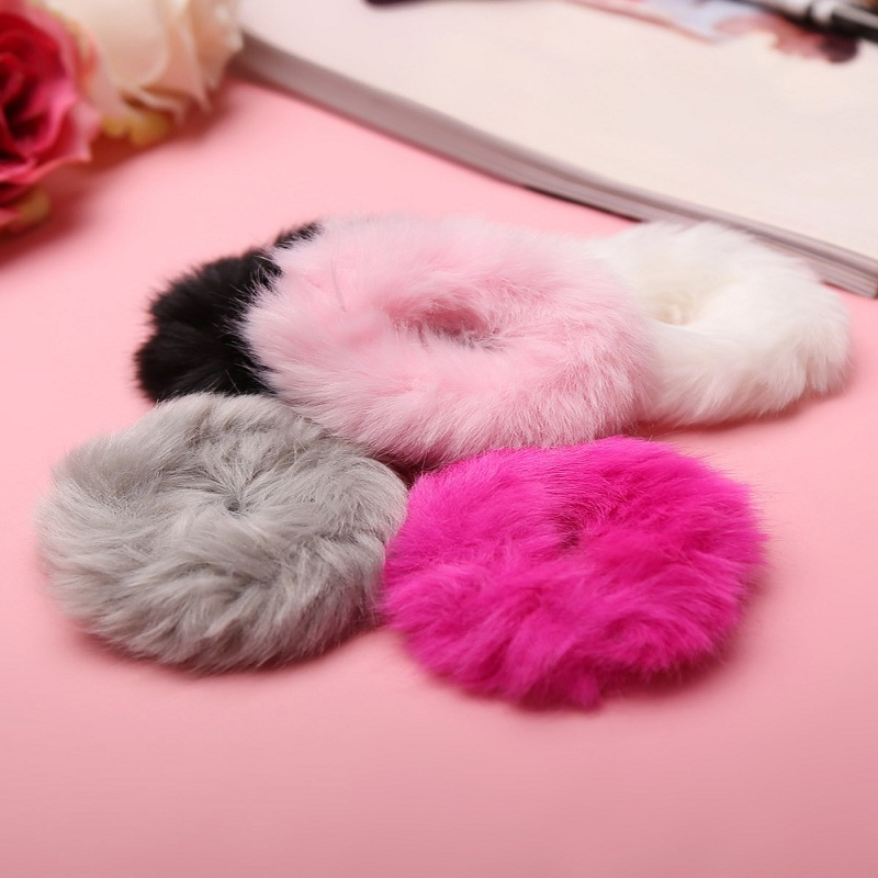 Fashion Fluffy Faux Hair Accessories   Headwear   Mini Fur Fuzzy Scrunchie Elastic Ring Rope Hair Band for Girls Women