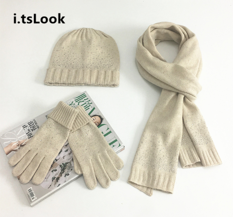 Girl Knitted Beanie Hat Scarf Gloves Set Warm Chunky Thick Stretchy Women Winter  Wool 3 Pieces Set Scarves Gorros gifts BF-206 f486a3181af