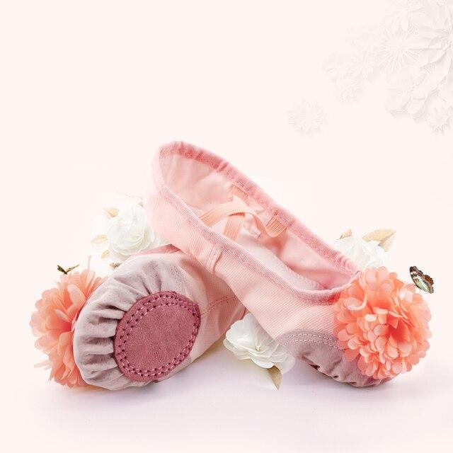 Hồng Ba Lê Giày Bé Gái Tập Đi Trẻ Em Ba Lê Dép Mềm Chia Đế Da Yoga Thể Dục Dụng Cụ Giày Khiêu Vũ Với Hoa