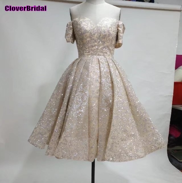 CloverBridal shinning 2017 boat neck off shoulder champagne short sleeves new years cocktail dresses knee length beautiful gown