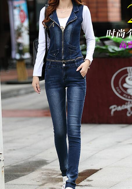 d90532ac632 Korean Woman Sleeveless Slim Fit Denim Jumpsuits New 2016 Spring Fashion  Denim Overalls Women Long Jean Pants With Zipper Middle-in Jumpsuits from  Women s ...