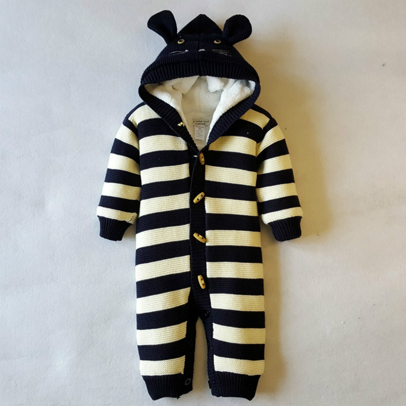 Winter Warm Thick Baby Boys Girls Jumpsuit Infant   Knitted Sweater Rompers Hooded Outwear Climbing Clothes