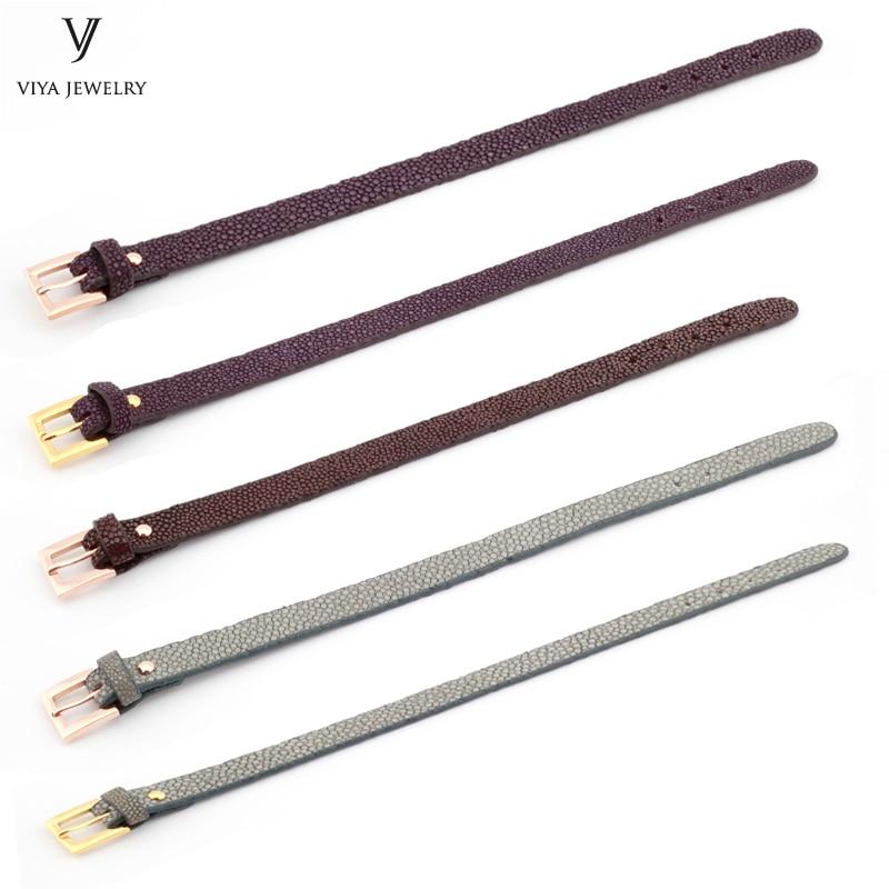 Dark-brown-and-purple-stingray--Flat-Stingray-Python-Cord-Wrap-Bracelet-Charm-Cuff-Leather-Men-Bracelet-10mm-Genuine-Stingray-Leather-Wristband-Adjust-Bracelet