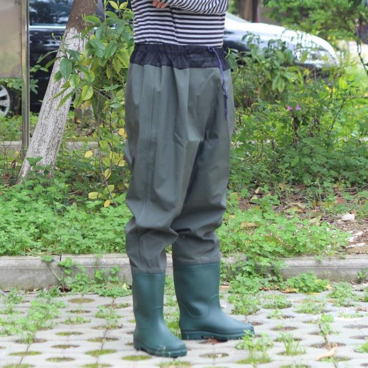 Waist Waders Breathable Wader Fishing Fishing Siamese Waist Elastic Waist Pants Water Pants Half-length Waterproof Pants Fish men elastic waist drawstring striped pants