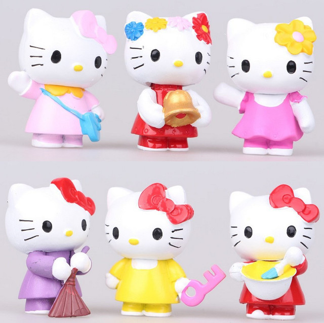 30 6pcsset Hello Kitty ornaments decorative children toys Doll
