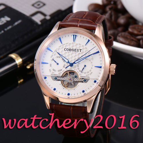 Luxury 44mm Corgeut White Dial Blue Hands Genuine Leather automatic movement men's Watch ultra luxury 2 3 5 modes german motor watch winder white color wooden black pu leater inside automatic watch winder