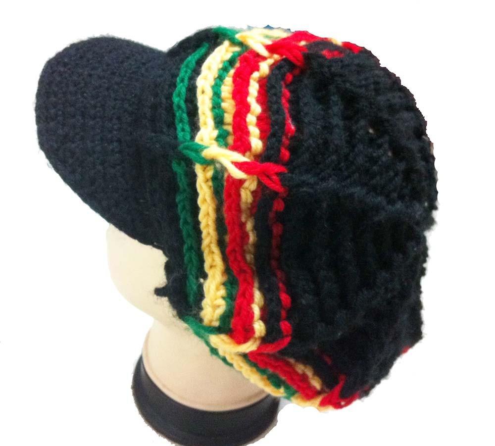 6403f9151f5 Fashion Knitted Jamaican Hat Reggae Rasta Handmade Crochet Fancy ...