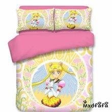 Mxdfafa Anime Sailor Moon Bed Set 3D Bedding Set Luxury Duvet Cover Set 3pc Set Include 1 Duvet Cover and 2 Pillowcase cover set 3d